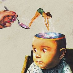 love the images, very quirky and the baby's face makes sense to what is happening