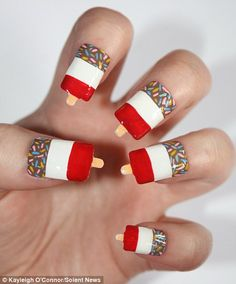 Sweet touch: Fab ice lollies proved inspirational in the case of these quirky nails