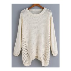 SheIn(sheinside) Long Sleeve Open-Knit Apricot Sweater found on Polyvore featuring polyvore, women's fashion, clothing, tops, sweaters, apricot, acrylic sweater, sweater pullover, loose fitting tops and long sleeve stretch top