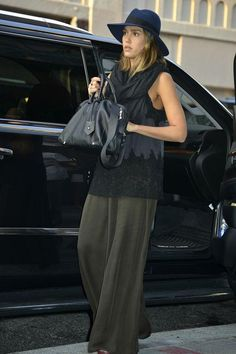 Jessica Alba wearing Maison Michel Virginie Hat in Navy, The Great. Slip Top and Westward Leaning Voyager Sunglasses