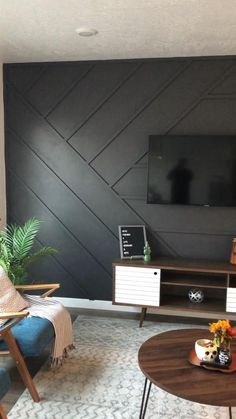 How to create a modern dark wood accent wall. #accentwall #darkwall #boardandbatten #mountedtvwall #modernwall #woodaccentwall Accent Walls In Living Room, Accent Wall Bedroom, Living Room Tv, Home And Living, Bedroom Decor, Living Room Wall Ideas, Accent Wall Decor, Decor Room, Room Ideas