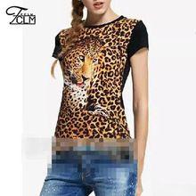 2016 del verano nuevas mujeres de la camiseta del leopardo camiseta impresa encabeza delgado Sexy Tees manga corta del o-cuello Tops CD7823(China (Mainland))