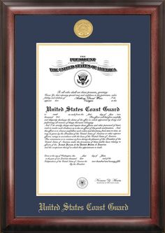 Campus Images Coast Guard Commission Frame Gold Medallion, Price/each Classic Picture Frames, Certificate Frames, Gold Medallion, Coast Guard, Picture On Wood, Custom Framing, Air Force, Army, Manualidades