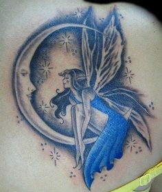 Grey Ink Moon And Fairy Tattoo On Back Shoulder