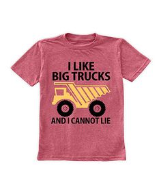 Loving this Heather Red 'I Like Big Trucks' Crewneck Tee - Toddler & Boys on #zulily! #zulilyfinds