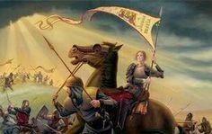 Santa Juana de Arco luchando por Francia