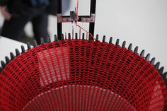 Artist duo Varvara Guljajeva & Mar Canet designed and built an open hardware automated knitting machine called Circular Knitic.