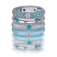 blue topaz eternity ring white gold | ... 18 Karat White Gold, Enamel, Blue Topaz, & Diamond Stack Ring Set