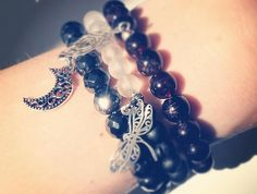Black Hematite Faceted Beads Bracelet with Silver Moon Charm