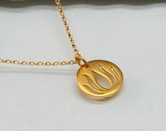 Lotus Flower Necklace in Gold Filled and Vermeil, Yoga, Zen, Nature, Blooming Flower - pinned by pin4etsy.com