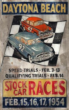 Vintage Wood Sign with Stock Cars