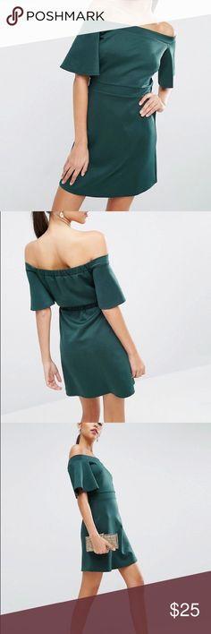 ASOS Scuba off Shoulder Teal green mini dress Smooth stretch fabric Bardot neck Wide-cut short sleeves Stretch waist Regular fit - true to size Machine wash 94% Polyester, 6% Elastane ASOS Dresses Mini
