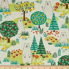Cosmo Forest Delight White from @fabricdotcom  Designed by Cosmo Japan for Springs Creative, this cotton print is perfect for quilting, apparel, and home decor accents. Colors include cream, shades of green, yellow, orange, and red.