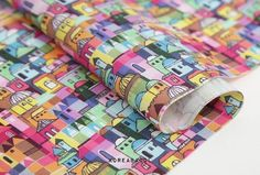 Colorful village fabric Colorful village pattern
