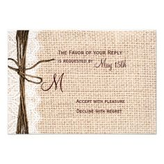 >>>Are you looking for          Rustic Country Burlap Lace Twine Wedding RSVP Invitation           Rustic Country Burlap Lace Twine Wedding RSVP Invitation We have the best promotion for you and if you are interested in the related item or need more information reviews from the x customer who ...Cleck Hot Deals >>> http://www.zazzle.com/rustic_country_burlap_lace_twine_wedding_rsvp_invitation-161327436046910047?rf=238627982471231924&zbar=1&tc=terrest