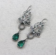 """Купить Серьги с изумрудами """"MOHINY"""" серьги изумруд серебро 925 - зеленый, изумрудный, изумруд, с изумрудом"""