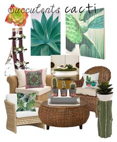 """Succulents & Cacti"" by mdfletch on Polyvore featuring interior, interiors, interior design, home, home decor, interior decorating, Global Views, Dot & Bo, Pottery Barn and Palecek"