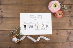 Illustrated Wedding Schedules schedule of the day with
