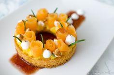 Tartelette de melon poché au romarin - Bataille food #36 Meringue, Tartelette, Nom Nom, Eggs, Breakfast, Sweet, Desserts, Challenge, Everything