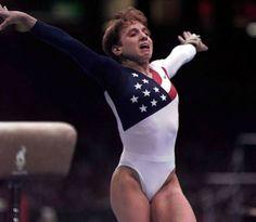 Olympic gymnast Keri Strug- nailed the landing with broken foot.