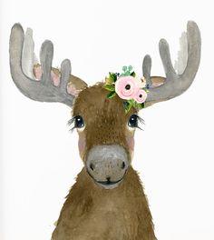 Painting Ideas Animals Sweets New Ideas Nursery Paintings, Nursery Prints, Animal Paintings, Animal Drawings, Cute Drawings, Moose Nursery, Woodland Nursery Decor, Moose Decor, Moose Art
