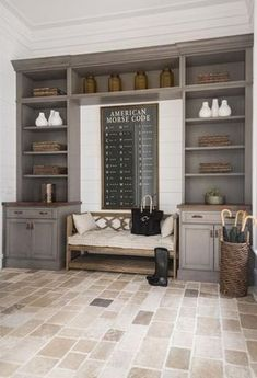 Rustic Mudroom Built Ins - Design photos, ideas and inspiration. Amazing gallery of interior design and decorating ideas of Rustic Mudroom Built Ins in laundry/mudrooms by elite interior designers. Interior Design Minimalist, Farmhouse Laundry Room, Laundry Rooms, Small Laundry, Mudrooms With Laundry, Laundry Room Island, Laundry Room Floors, Closet Island, Laundry Shelves