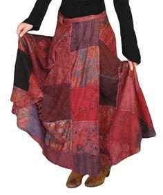 Jayli Wine Tie-Dye Patchwork Maxi Skirt by Jayli #zulily #zulilyfinds