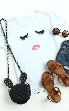 White Short Sleeve Eyelash Lip Print T-Shirt . sign up for 40% off your 1st order