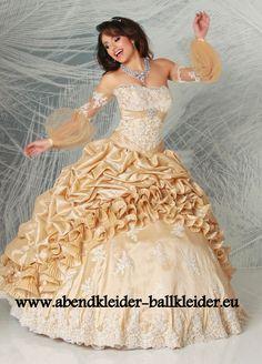 Amerikanisches Abschlussballkleid Brautkleid in Gold