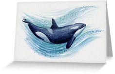 "Stationary Cards • ""Orca Splash"" watercolor killer whale art by Amber Marine ••• AmberMarineArt.com ••• ©"