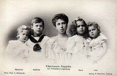 A BEAUTIFUL portrait of the HL children with their mother, Princess Alexandra.  From left, Princess Alexandra, Prince Gottfried, Princess Alexandra (Mother), Princess Marie Melita, and Princess Irma.