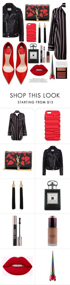 """Black and Red"" by callyfordham ❤ liked on Polyvore featuring Boohoo, Yves Saint Laurent, Sandro, Jo Malone, Kevyn Aucoin, Christian Louboutin and Bobbi Brown Cosmetics"