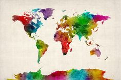 Watercolor Map of the World Map Stretched Canvas