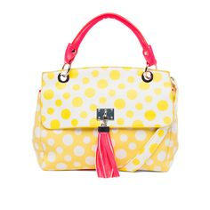 Melie Bianco Lynn Polka Dot Statchel Yellow up to 70% off | Handbags | Little Black Bag