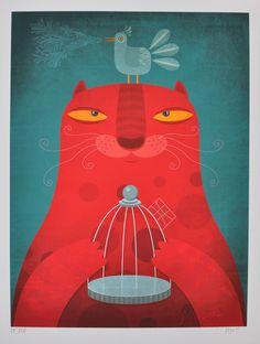 Gato relajado, ilustración de Alberto Montt