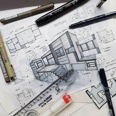 7,612 vind-ik-leuks, 9 reacties - Architecture - Daily Sketches (@arch_more) op Instagram: 'By @07_sketches #arch_more'