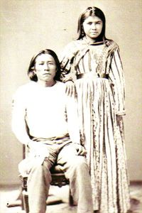 Chief Capitan Chiquito Bullis lost two wives during the Camp Grant Massacre. Afterwards, he returned to Aravaipa to farm and live, marrying the woman shown here.