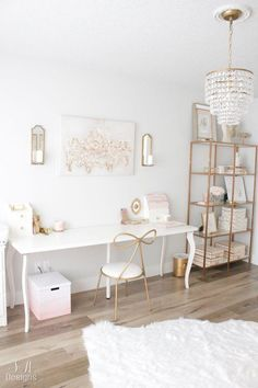 Blush And Gold Glam Office Reveal Home Office Ideas blush Glam gold Office Reveal Home Office Space, Home Office Design, Home Office Decor, Office Setup, Office Ideas, Office Table, Gold Home Decor, Office Workspace, Small Office