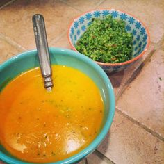 The Gluten-Free Yogi: Gluten-Free Sweet Potato Soup with Cilantro Almond Pesto