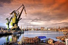 This photo from Pomorskie, West is titled 'Gdansk shipyard'. Gdansk Poland, Danzig, Nautical Art, Central Europe, Lithuania, Czech Republic, Crane, Germany, Navi