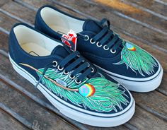 Wavy Peacock Feather Vans shoes by BStreetShoes on Etsy, $149.00