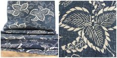 Antique Indigo. Japanese Katazome Cotton. Aizome. Floral Leaf Stencil Design (Ref: 286)