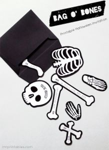 Invite guests to your next Halloween party in a unique and exciting way with the Bag O' Bones Halloween Invitations. This absolutely adorable free printable is such a unique paper craft!