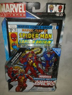Spiderman and Captain Britain Action Figures and Comic Book  Comic Pack #65 #Hasbro