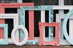 Coral and teal nursery decor // Picture frame set