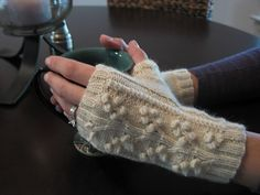 Ravelry: Project Gallery for Regina Cable & Bobble Fingerless Mitts pattern by SmarieK