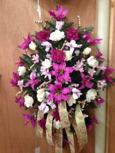 Hot pink and white silk cemetery spray