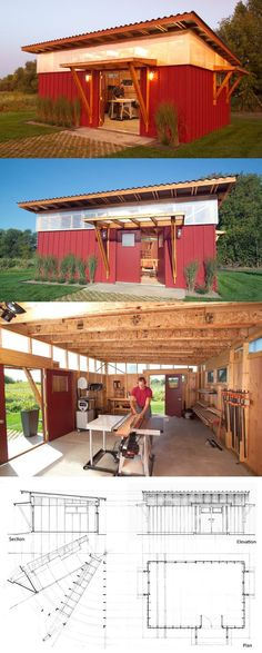 Garden Shed/Workshop Floor Plan. Interesting use of windows throughout to create natural light.
