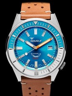 Squale 600 meter Professional Swiss Automatic Dive watch with 44mm Case #Matic-Blue-Pol
