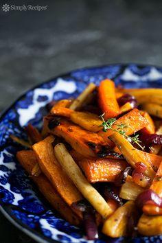 Cider Vinaigrette Roasted Root Vegetables ~ Beautiful roasted root vegetables—garnet yams, parsnips, carrots, beets—tossed in an apple cider vinaigrette and roasted until tender and caramelized. ~ SimplyRecipes.com